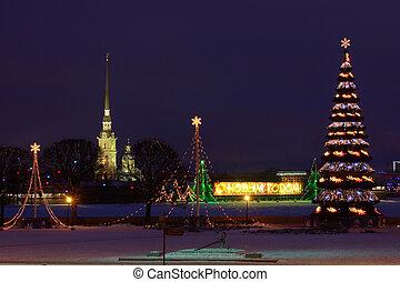 federación, ruso, árbol, tarde, city., petersburg., histórico, fotografía, vasilievsky, navidad, island., santo, light., saliva, centro, urbano