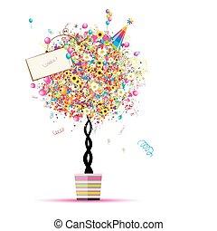 Felices fiestas, árbol divertido con globos en la olla para tu diseño