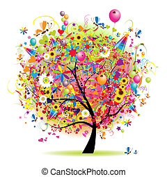 Felices fiestas, árbol divertido con globos