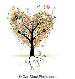 Felices fiestas, árboles de forma cardíaca con globos