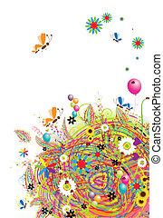 Felices fiestas, divertida tarjeta con globos