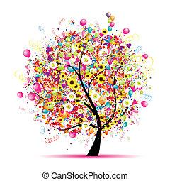 Felices fiestas, divertido árbol con globos