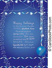 Felices fiestas en muchos idiomas, envíalas a tus amigos de todo el mundo y entienden tu mensaje, ilustración vectora