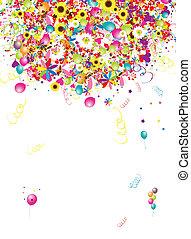 Felices fiestas, fondo divertido con globos para tu diseño