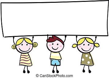 Felices niñitas y niños con estandartes vacíos, ilustraciones de caricaturas.