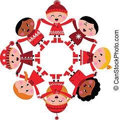 Felices niños de invierno multicultural con las manos en blanco
