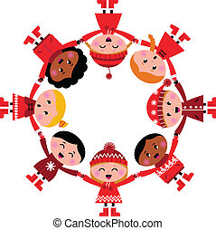 Felices niños de invierno sonriendo en círculo. Ilustración de dibujos animados.