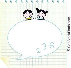 Felices niños guapos y Doodle anotan con Grid aislado en blanco