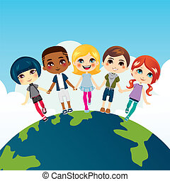 Felices niños multiétnicos