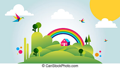 Felices paisajes de primavera ilustrados