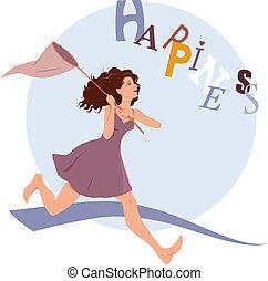 felicidad, persiguiendo