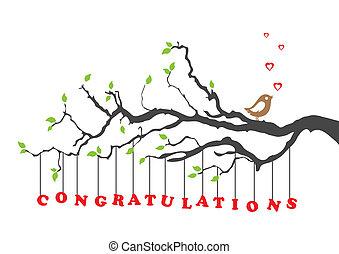 Felicitaciones con el pájaro
