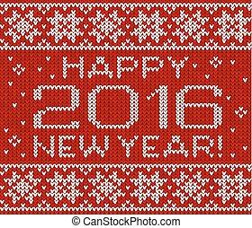 Feliz 2016 año nuevo tarjeta de felicitación tejida
