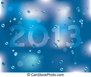 Feliz Año 2013 mensaje en una superficie húmeda