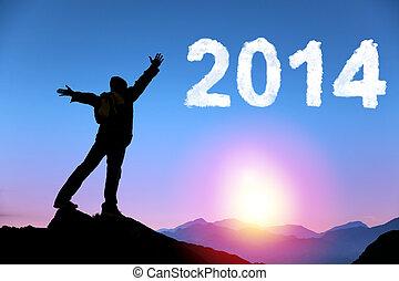 Feliz año nuevo 2014. Un joven feliz en la cima de la montaña