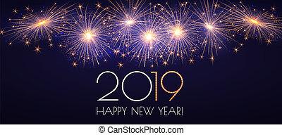 feliz, año, nuevo, 2019, fireworks., plano de fondo, sparklers