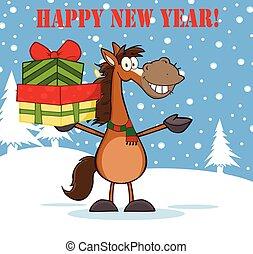 Feliz año nuevo con caballo