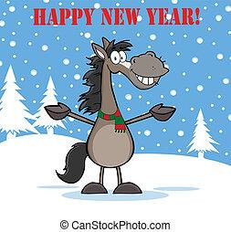 Feliz año nuevo con un caballo gris