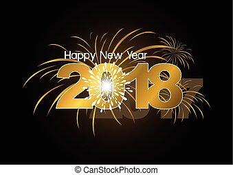 feliz, año, nuevo, diseño, 2018, fuegos artificiales
