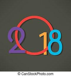 feliz, año, nuevo, diseño, plano de fondo, 2018, creativo