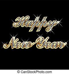 Feliz año nuevo en oro y joyas