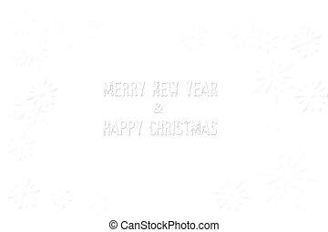 Feliz año nuevo, feliz Navidad aislada en blanco y copo de nieve