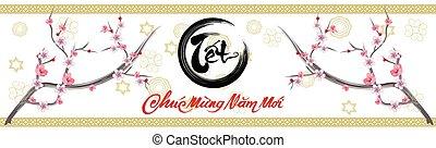 feliz, año, nuevo, medio, vietnamita, caracteres, luna