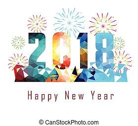 feliz, año, nuevo, plano de fondo, 2018, fuego artificial