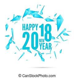 feliz, año, nuevo, plano de fondo, 2018