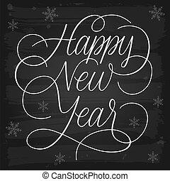 Feliz Año Nuevo saluda a la pizarra