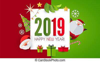 feliz, año, papel, nuevo, 2019, lindo, design., arte