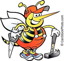 Feliz abeja carpintero