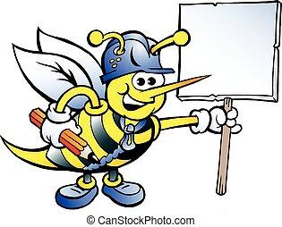 Feliz abeja trabajadora sosteniendo una señal