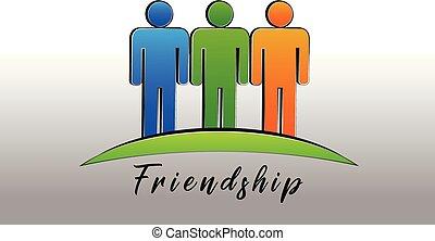 Feliz amistad la gente logo vector de icono