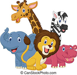 feliz, animal, safari, caricatura