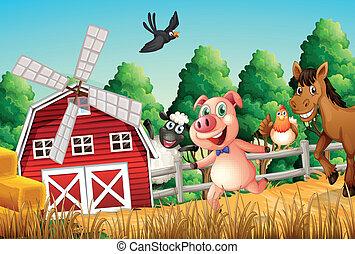 Feliz animales de granja