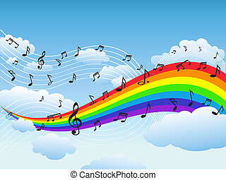 Feliz arco iris con fondo de notas musicales