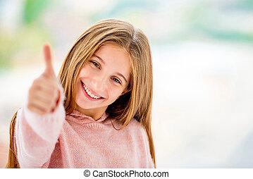 feliz, arriba, pulgar, niña, actuación