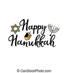feliz, attributes, garabato, hanukkah., mano, style., tradicional, dibujado, chanukah, lettering., torah, menorah, dreidel