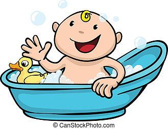 Feliz baño de bebé