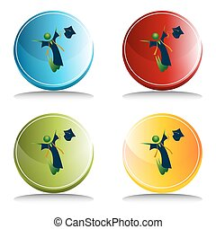Feliz botón de graduación