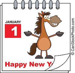 Feliz calendario de Año Nuevo con caballo
