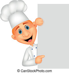 Feliz caricatura del chef sosteniendo en blanco si