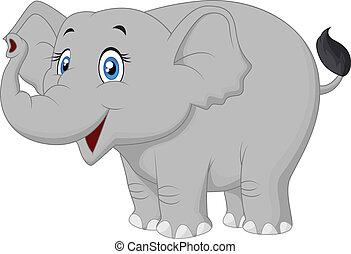 feliz, caricatura, elefante