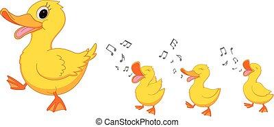 feliz, caricatura, familia de patos