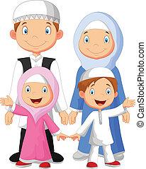Feliz caricatura familiar musulmán