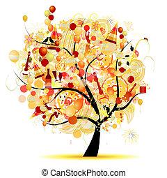 Feliz celebración, árbol divertido con símbolos festivos