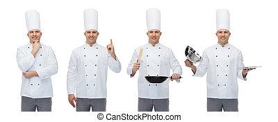 Feliz chef masculino con utensilios de cocina