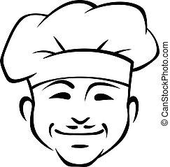 Feliz chef sonriente con un pequeño bigote