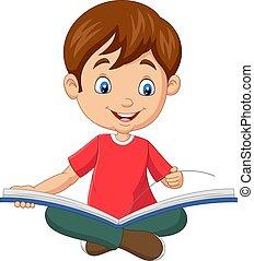 feliz, chico que sienta, abierto, libro